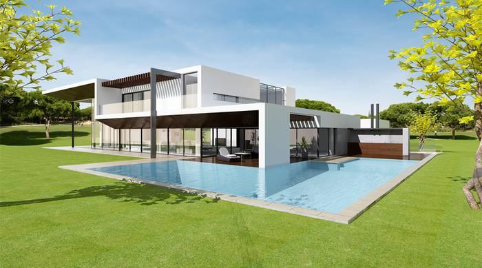 Projeto de vivenda com piscina rodeada por relva - PLAN